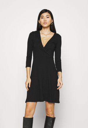 Quarter sleeves wrap mini dress - Jerseykjole - black