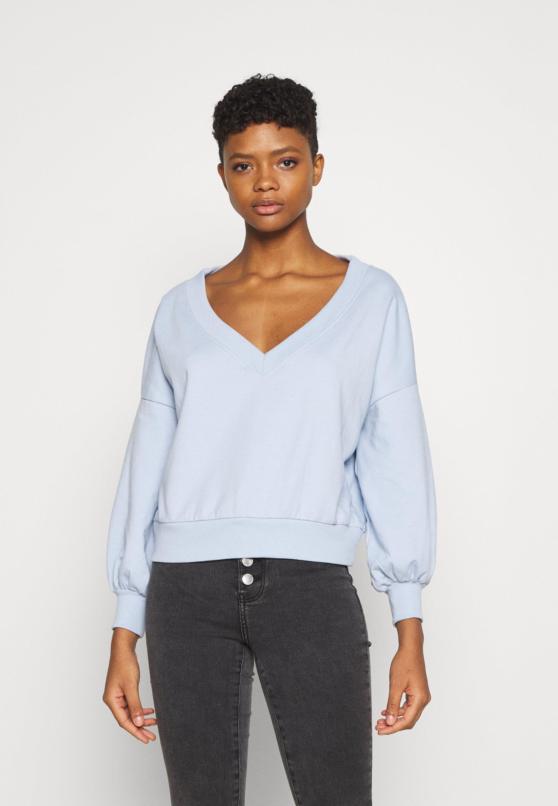 Women Balloon sleeve V neck - Sweatshirt