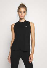 DKNY - CUT OFF LOGOMOCK NECK TEE - Print T-shirt - black - 0
