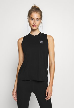 CUT OFF LOGOMOCK NECK TEE - Triko s potiskem - black