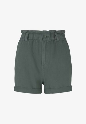 CONSTRUCTED PAPERBAG - Denim shorts - dusty pine green