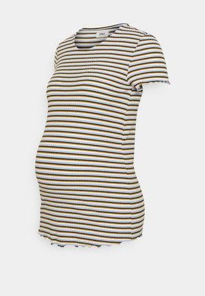 OLMEMMA STRIPE - Print T-shirt - cloud dancer/blue/yellow