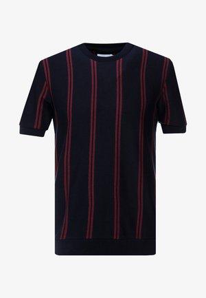 VERTICAL STRIPE CREW - Basic T-shirt - navy