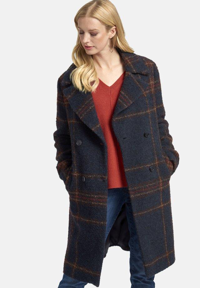 MIT REVERSKRAGEN UND TARTAN-MUSTER - Short coat - blau