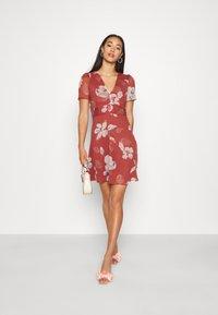 Vero Moda - V NECK DRESS - Day dress - marsala - 1