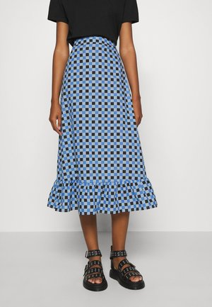 EMILIE MALOU CHECKED MIDI SKIRT - Gonna a campana - blue