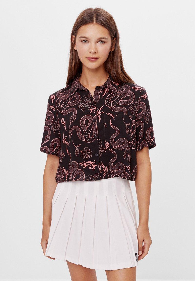 Bershka - Button-down blouse - black