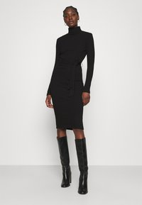 Dorothy Perkins - BRUSHED BODYCON TIE WAIST - Shift dress - black - 0