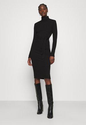 BRUSHED BODYCON TIE WAIST - Shift dress - black