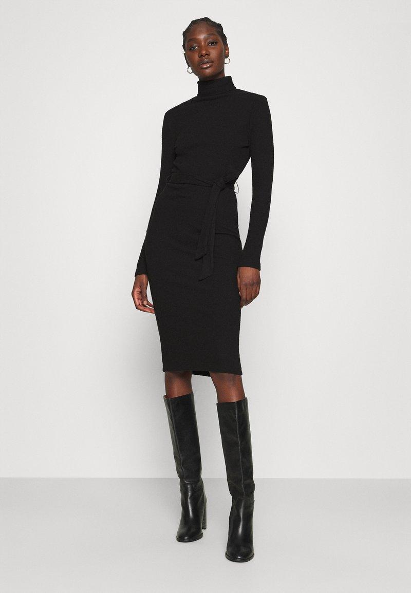 Dorothy Perkins - BRUSHED BODYCON TIE WAIST - Shift dress - black