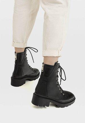 MIT REISSVERSCHLUSS  - Šněrovací kotníkové boty - black
