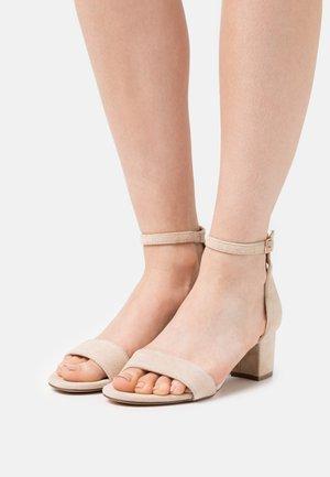 LEATHER - Sandaalit nilkkaremmillä - beige