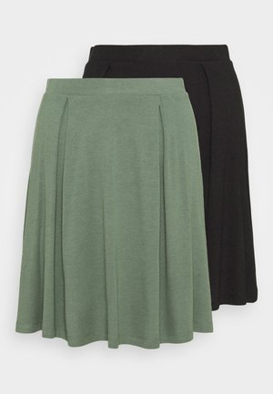 2 PACK - A-line skirt - black/light green