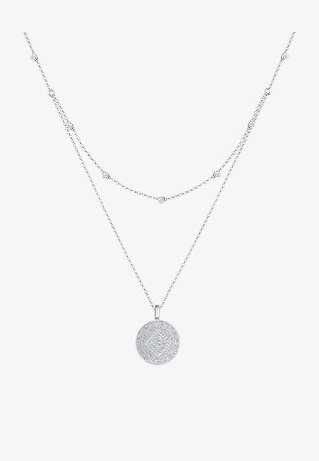 MÜNZE PLÄTTCHEN LAYERING - Necklace - silber