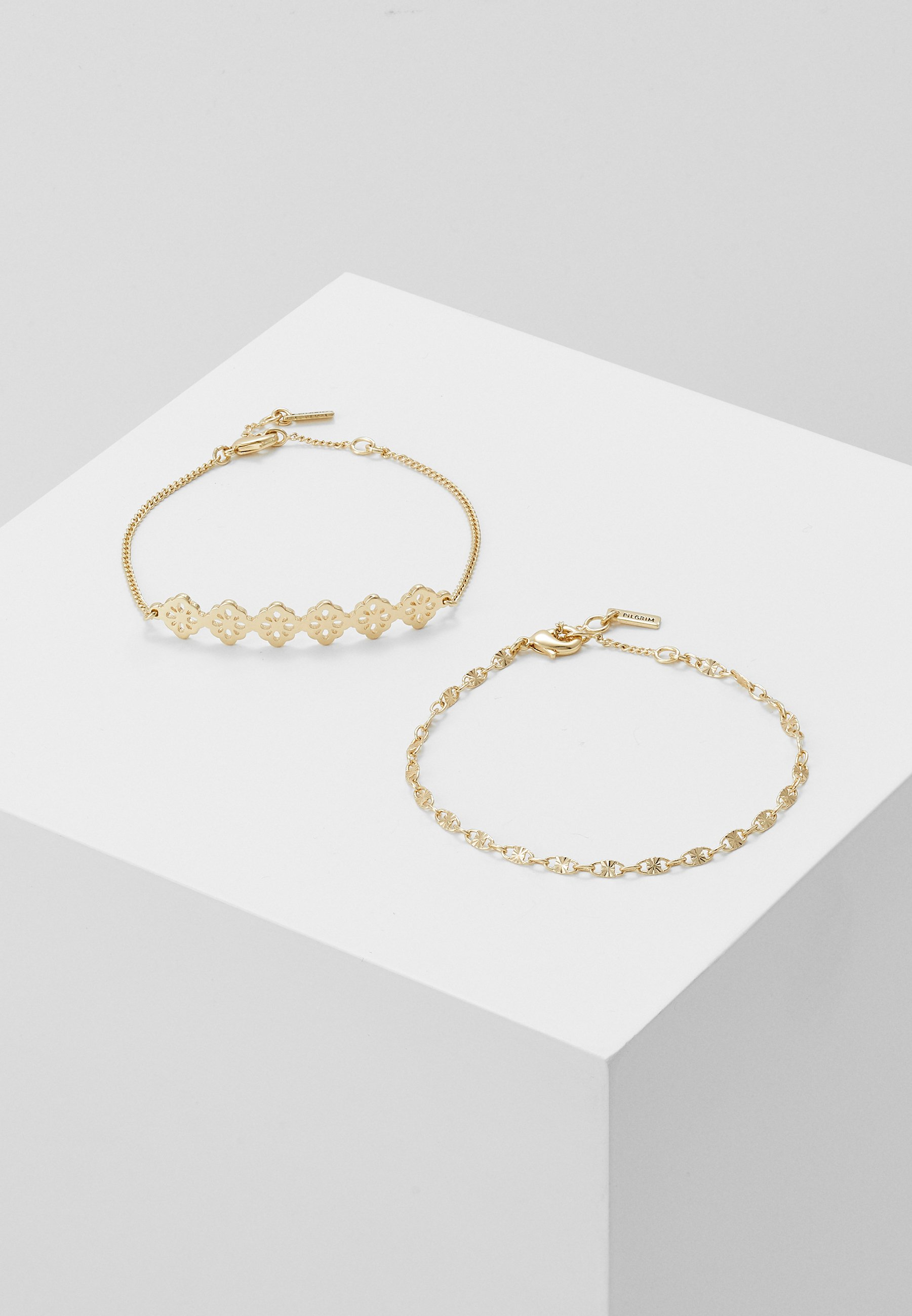 Orelia SATELLITE AND FLAT CURB CHAIN BRACELET 2 PACK