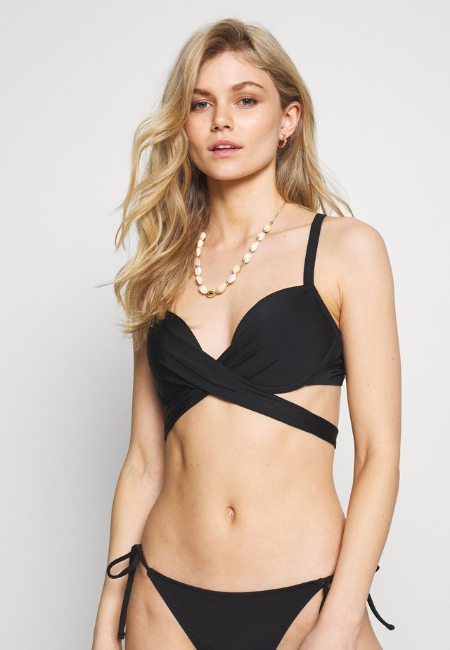 SPACE FRONT FASTENING WRAP AROUND PADDED UNDERWIRED - Bikini top - black