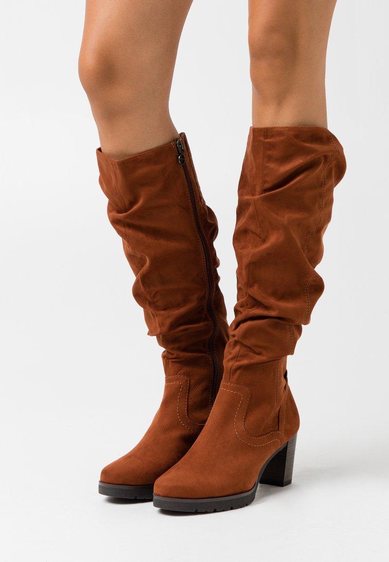 Tamaris - BOOTS  - Platform boots - brandy