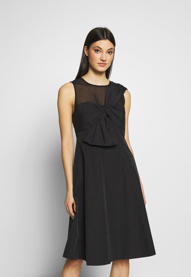 BOW FRONT FAILLE DRESS - Juhlamekko - black