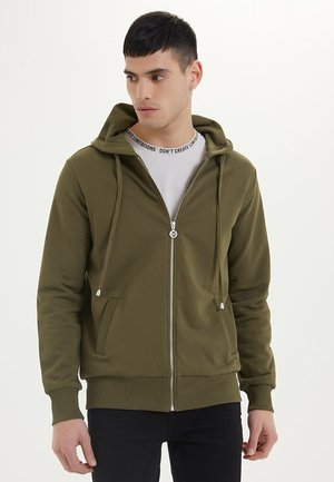 ESSENTIALS  - veste en sweat zippée - dark olive