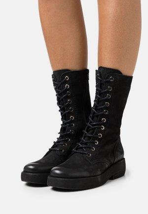 EXTRA - Šněrovací vysoké boty - pacific black