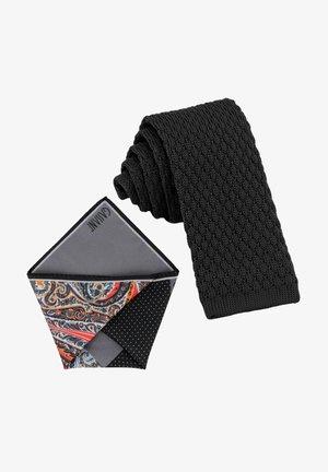 CRAVATTA MAGLIA & ARTEQUATTRO SET - Pocket square - schwarz   platin grau orange paisley gemustert