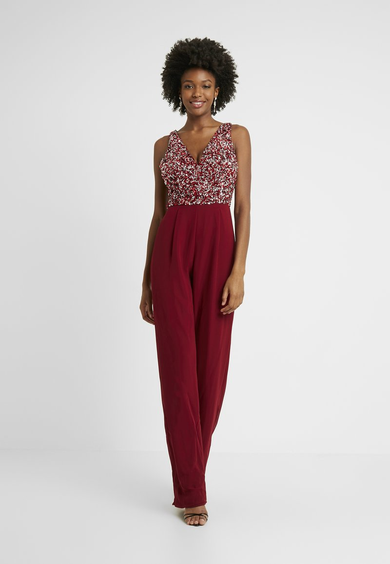 Lace & Beads Tall - PICASSO DEEP V - Overal - fiery red
