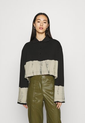 KALANI CROPPED LONG SLEEVE - Koszulka polo - black