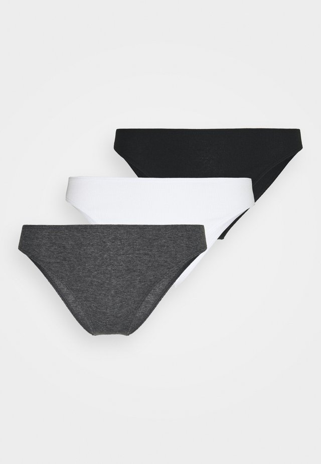 HIGH LEG 3 PACK - Slip - white/grey/black