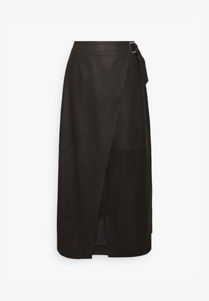 YASMORA MIDI SKIRT TALL - Leather skirt - black
