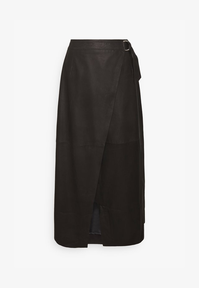 YASMORA MIDI SKIRT TALL - Gonna di pelle - black