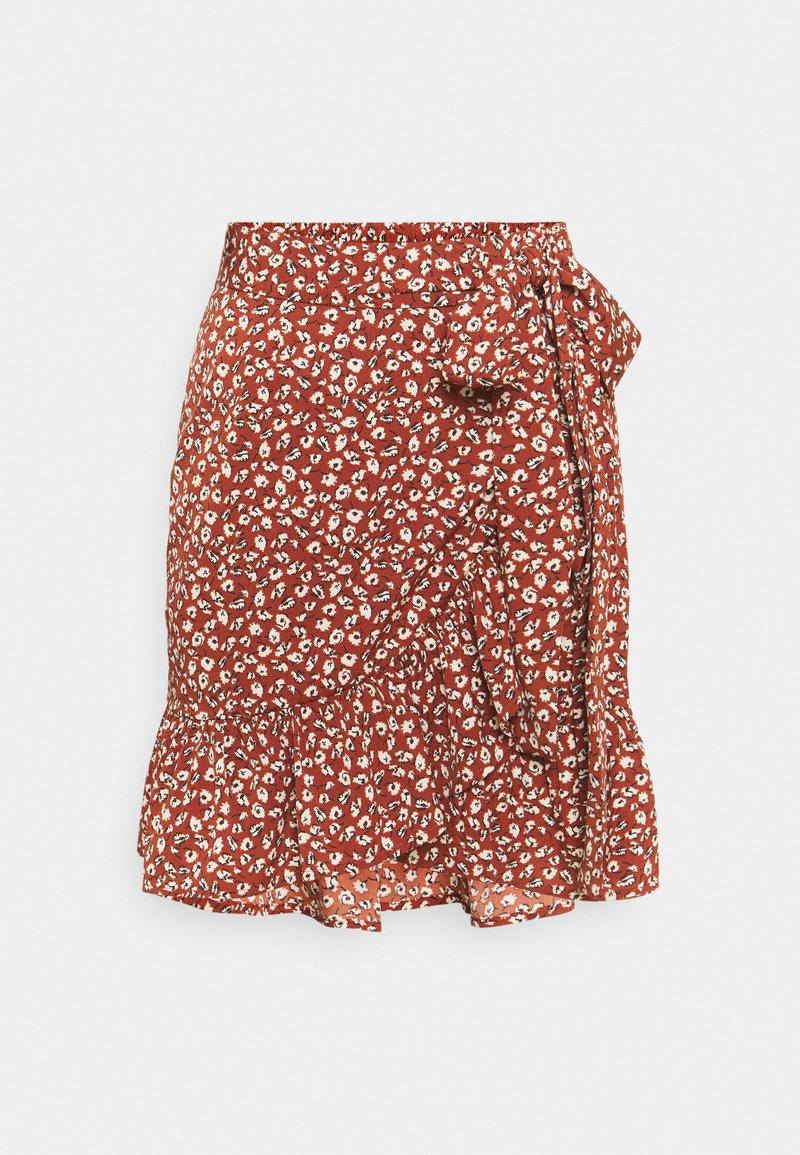 ONLY - ONLOLIVIA WRAP SKIRT - Wrap skirt - henna