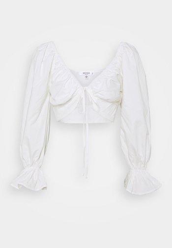 BALLOON SLEEVE TIE UP CROP - Bluser - white