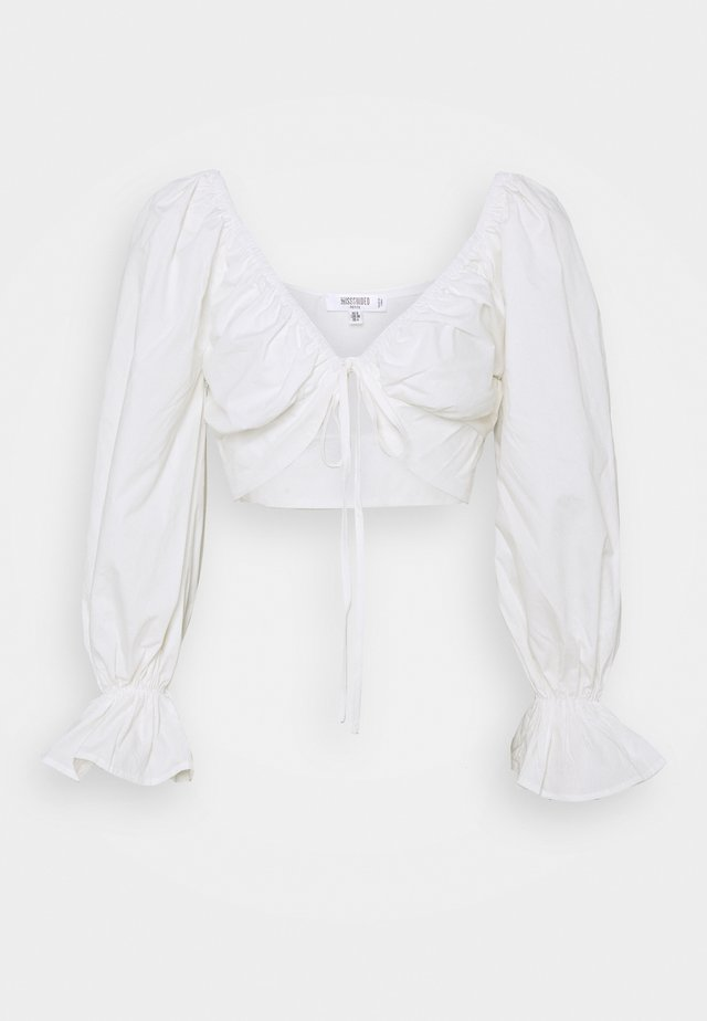 BALLOON SLEEVE TIE UP CROP - Blouse - white