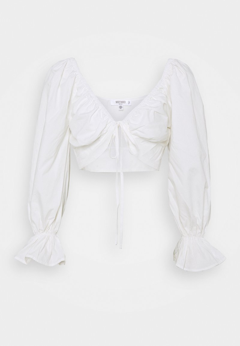Missguided Tall - BALLOON SLEEVE TIE UP CROP - Blouse - white
