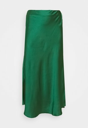 MIDI SKIRT - Falda larga - dark green satin