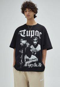 PULL&BEAR - T-shirt con stampa - mottled black - 3