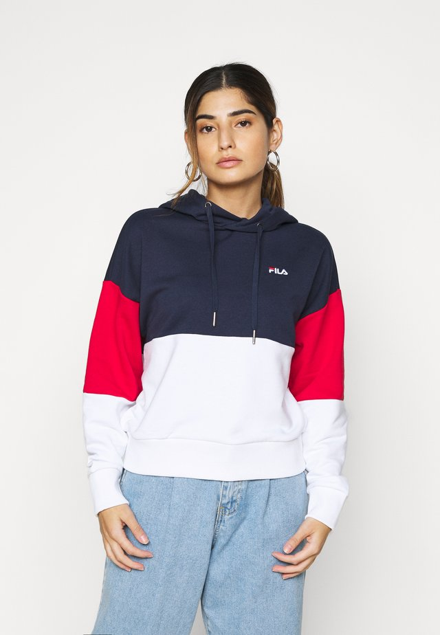 SANJA CROPPED HOODY - Sweat à capuche - black iris/bright white/true red
