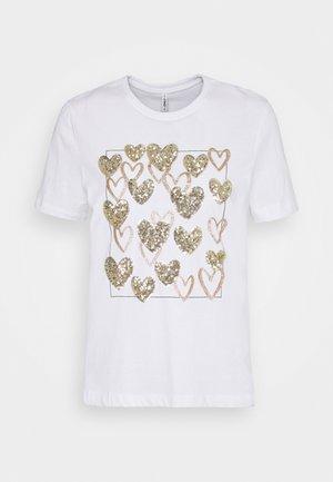 ONLKITA LIFE LEAF BOX - Print T-shirt - bright white/gold hearts square