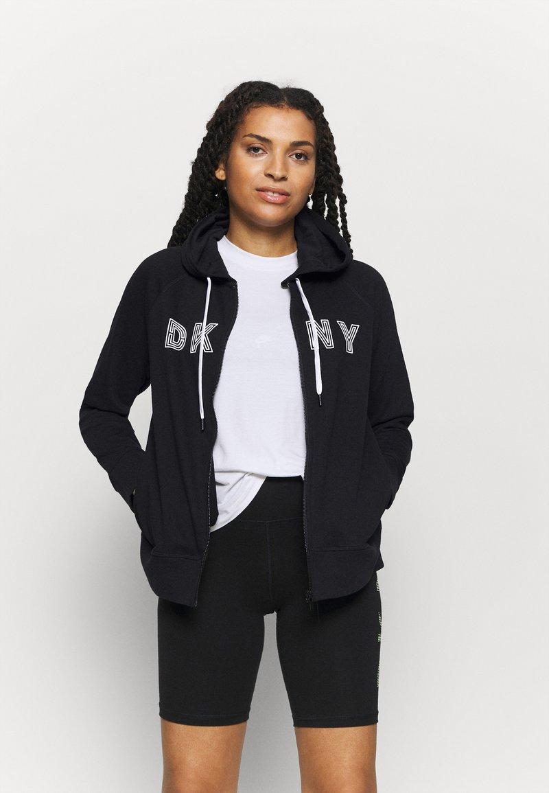 DKNY - TRACK LOGO ZIP HOODI - Zip-up hoodie - black