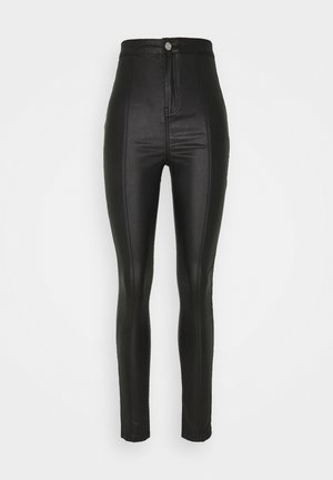COATED FRONT SEAM SKINNY - Trousers - black