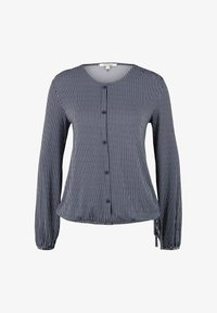 TOM TAILOR DENIM - Button-down blouse - navy white vertical stripe - 0