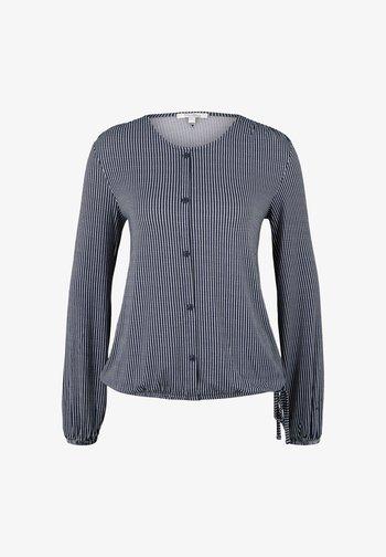 Button-down blouse - navy white vertical stripe