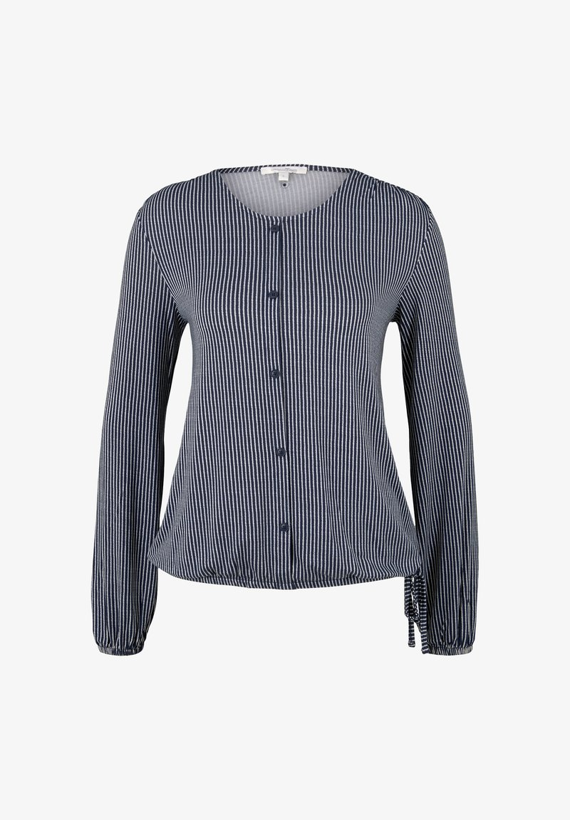 TOM TAILOR DENIM - Button-down blouse - navy white vertical stripe