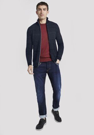 TOM TAILOR PULLOVER & STRICKJACKEN GESTREIFTE STRICKJACKE - Cardigan - dark blue