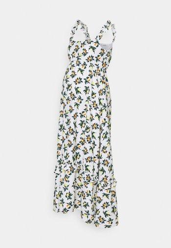 FRILLED STRAPS DRESS - Długa sukienka - white
