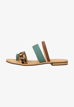 Sandals - turquoise/brown