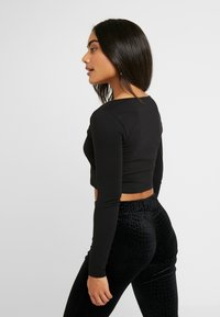 Even&Odd Petite - BASIC LONG SLEEVE TOP - Långärmad tröja - black - 2