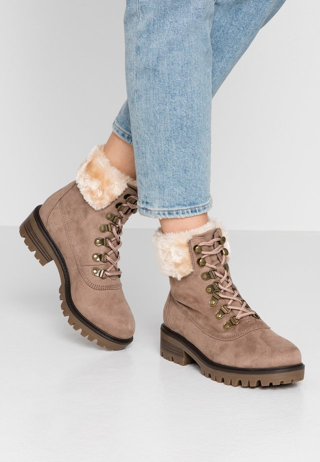 WIDE FIT MILLIE COLLAR LACE UP HIKER - Lace-up ankle boots - stone