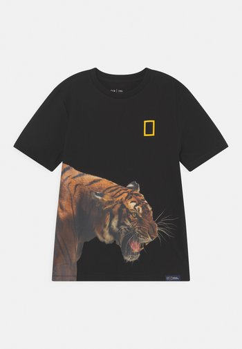 BOY NATIONAL GEOGRAPHIC TIGER - Print T-shirt - true black