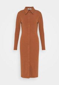 BUTTON THROUGH DRESS - Jersey dress - rust